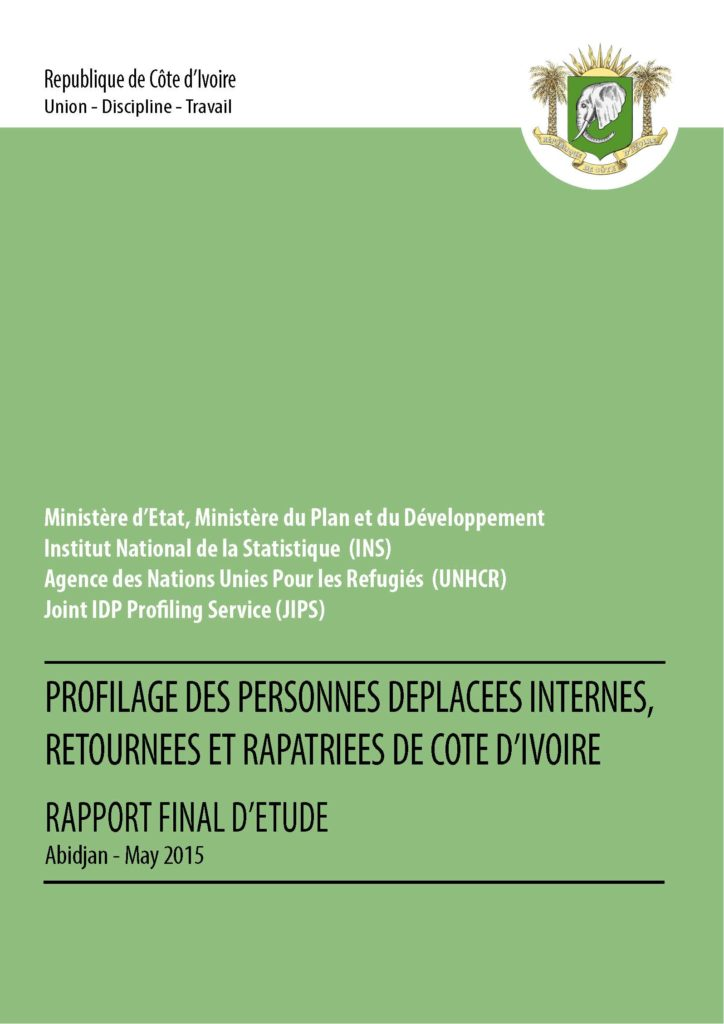 Profilage des Personnes Déplacées Internes, Retournées et Rapatriées de Côte d'Ivoire (May 2015)