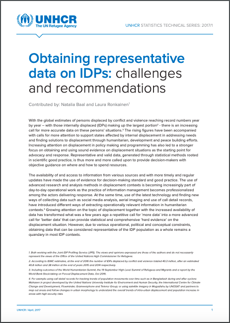 UNHCR Technical Series: Guest Article on Obtaining Representative Data on IDPs (2016)