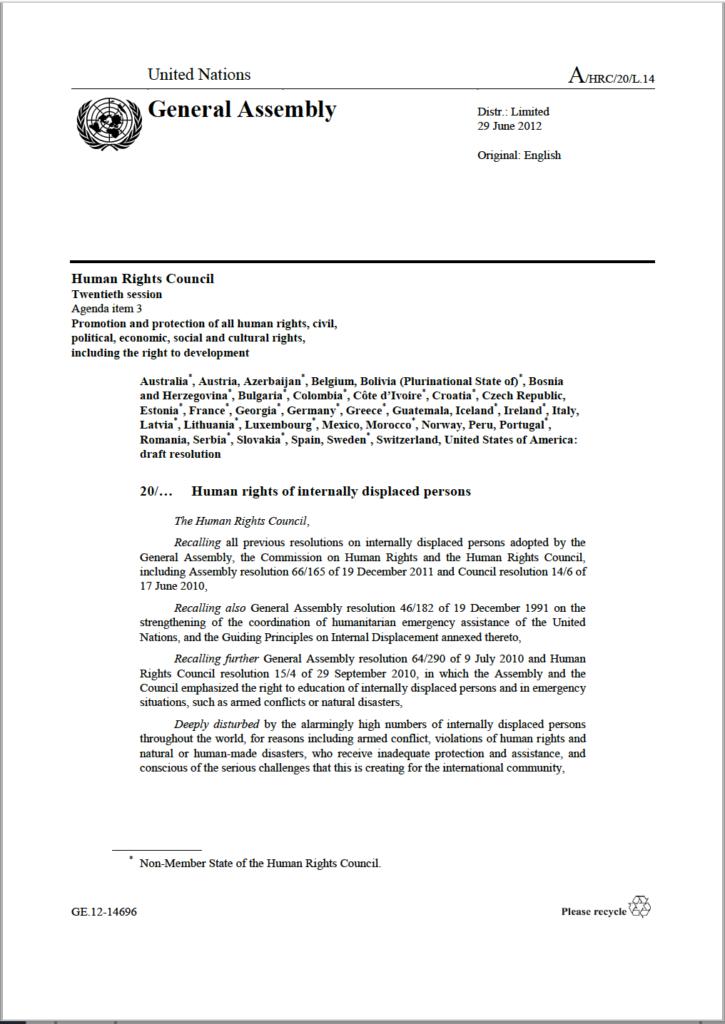 UN General Assembly - Human Rights Council Resolution (2012, A/HRC/20/L.14)
