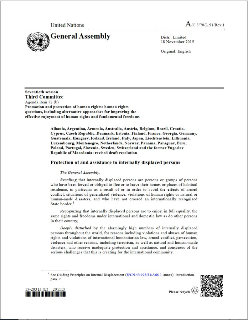 UN General Assembly Resolution (2015, A/C.3/70/L.51/Rev.1)