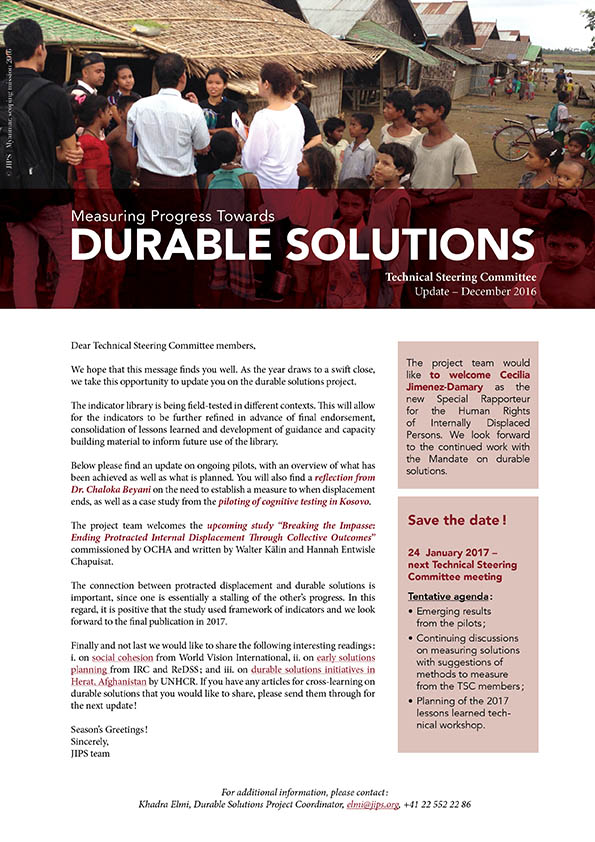 Durable Solutions Project: Technical Steering Committee Update (2016)