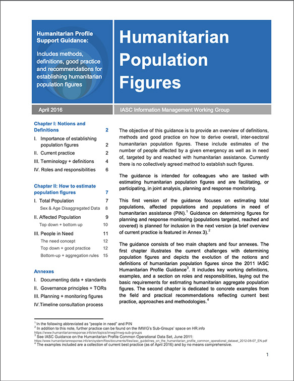 Humanitarian Population Figures by the IASC Information Management Working Group (2016)