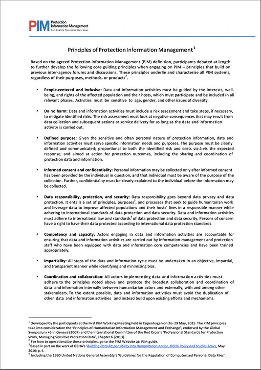 Principles of Protection Information Management (2018)