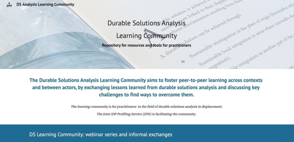 Learning Community on Durable Solutions Analysis: From & For Practitioners