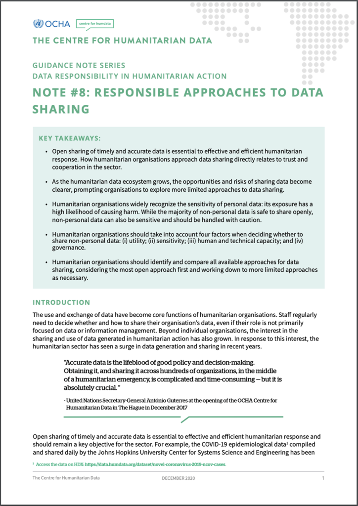 Guidance Note on Responsible Approaches to Data Sharing (CHD, JIPS, 2021)
