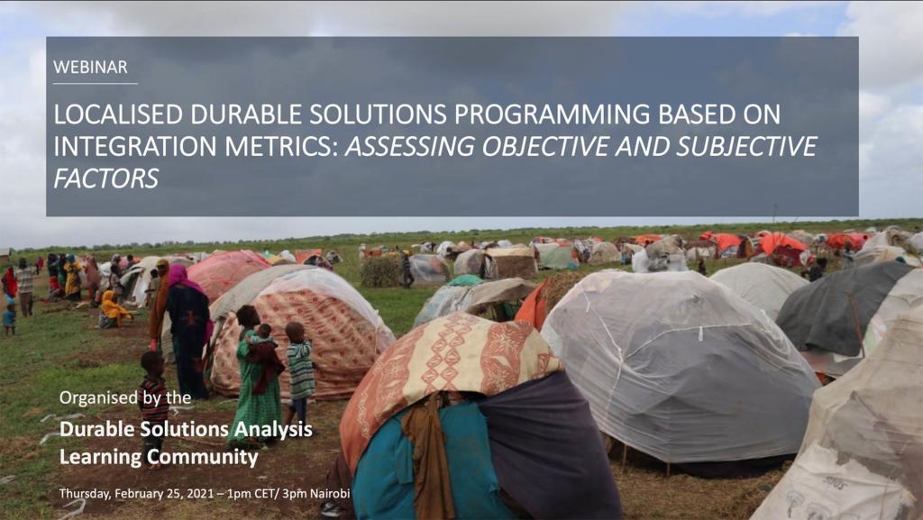 Localised Durable Solutions Programming Based on Integration Metrics | 4th Learning Community Webinar
