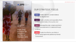 JIPS' Strategy 2021-23 publication and four strategic goals.